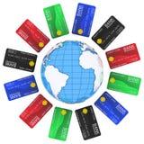 Mehrfarbige Scheckkarten um die Erde Lizenzfreie Stockfotografie