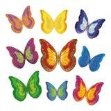 Mehrfarbige Schmetterlinge färben sich, Blau, Grün, Mischung auf einem weißen Hintergrund gelb Stockbild