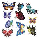 Mehrfarbige Schmetterlinge für Ihr Design Stockbilder