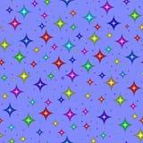 Mehrfarbige Sterne auf Blau stock abbildung