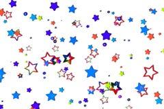 Mehrfarbige Sterne auf weißem Hintergrund stockbilder