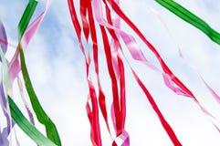 Mehrfarbige Streifen von Bändern Stockfotografie