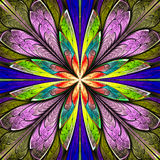 Mehrfarbige symmetrische Fractalblume im Buntglasfenster Lizenzfreie Stockfotos