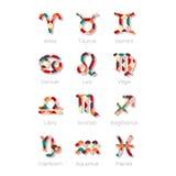 Mehrfarbige Tierkreis-Symbol-Ikonen lokalisiert auf Weiß Lizenzfreies Stockfoto