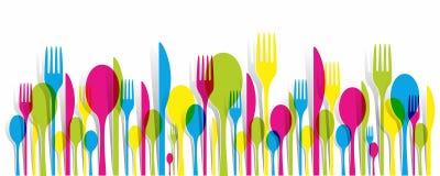 Mehrfarbige Tischbesteck-Ikonen eingestellt Lizenzfreie Stockfotografie