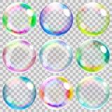 Mehrfarbige transparente Seifenblasen Stockbild