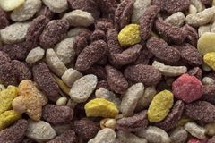 Mehrfarbige trockene gefriertrocknete Nahrung für Haustiere lizenzfreie stockfotografie