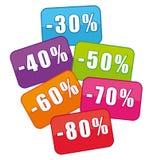 Mehrfarbige Verkaufskupons. Stockbilder