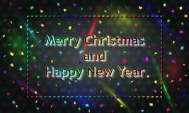 Mehrfarbige Weihnachtskarte reproduziert in der Neonart Stockbild