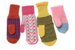 Mehrfarbige Wollehandschuhe Stockfotos