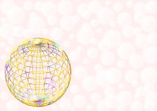 Mehrfarbiger Drahtball auf hellrosa Stockfoto