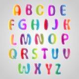Mehrfarbiger Guss, Satz bunte Buchstaben stock abbildung
