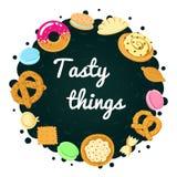 Mehrfarbiger Hintergrund des geschmackvollen Lebensmittelvektors Stockbild