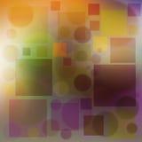 Mehrfarbiger Hintergrund sprudelt Kreise und weiche Farbe des Quadrats Stockfotografie