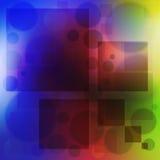 Mehrfarbiger Hintergrund sprudelt Kreise und weiche Farbe des Quadrats Lizenzfreie Stockfotografie