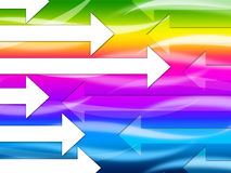 Mehrfarbiger Pfeil-Hintergrund zeigt buntes und Richtung Lizenzfreie Stockfotos