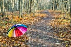 Mehrfarbiger Regenschirm liegt auf dem Herbstlaub stockbild