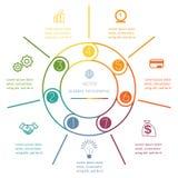 Mehrfarbiger Ring Infographic sieben Positionen Stockfoto