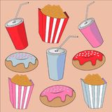 Mehrfarbiger süßer heller Hintergrund mit Lebensmittel und Getränken Stockfoto