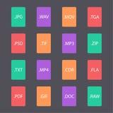 Mehrfarbiger Satz Dokumentendateiformate Stockfotos