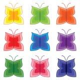 Mehrfarbiger Schmetterling eingestellt auf den weißen Hintergrund Stockfotografie