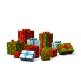 Mehrfarbiger Stapel der Weihnachtsgeschenke Stockbild