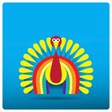 Mehrfarbiger Truthahnhahn in Form eines Regenbogens für Danksagungs-Tag Stockfotos