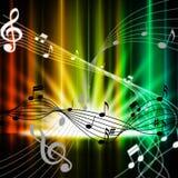Mehrfarbiger Vorhang-Hintergrund bedeutet Musik-Instrumente und Sohn lizenzfreie abbildung