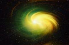 Mehrfarbiger warmer Blitz im Kosmoshimmelhintergrund Stockfotografie
