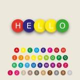 Mehrfarbiges Alphabet beschriftet Ikonen Lizenzfreie Stockfotos