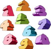 Mehrfarbiges Alphabet: Digits stock abbildung