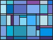 Mehrfarbiges Buntglasfenster mit unregelmäßigem Blockmuster Stockbild