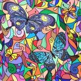 Mehrfarbiges Buntglasfenster, Schmetterlinge für Ihr Design Stockbilder