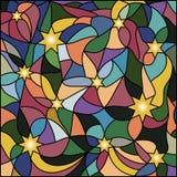 Mehrfarbiges Buntglasfenster, Sterne für Ihr Design Stockbild
