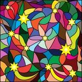 Mehrfarbiges Buntglasfenster, Sterne für Ihr Design Stockfotos