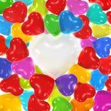 Geformte Ballone des mehrfarbigen Herzens Lizenzfreies Stockbild