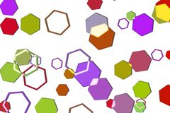 Mehrfarbiges sechseckiges bokeh auf weißem Hintergrund lizenzfreies stockbild