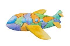 Mehrfarbiges Spielzeugflugzeug mit den blauen Fenstern gemalt im Aquarell Stockbilder