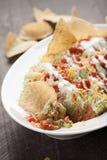 Mehrschichtiges Bad mit Mais-Tortilla-Chips schließen herauf Schuss Lizenzfreie Stockfotos