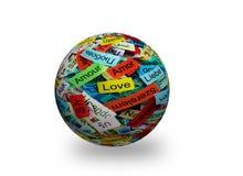 Mehrsprachiger Ball des Wortes 3d der Liebe Stockfotos