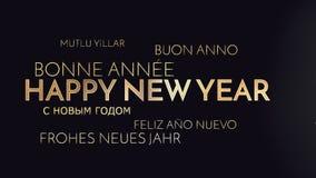 Mehrsprachiger guten Rutsch ins Neue Jahr-Hintergrund Stockfotos