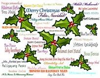 Mehrsprachiger Hintergrund der frohen Weihnachten Lizenzfreies Stockbild