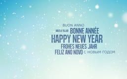 Mehrsprachiger Hintergrund für guten Rutsch ins Neue Jahr Lizenzfreies Stockfoto