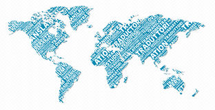 Mehrsprachiges Übersetzungs-Weltkartekonzept Stockbilder