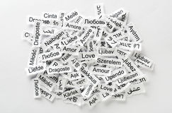 Mehrsprachiges Wort der Liebe Lizenzfreie Stockbilder
