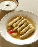 Mehshi malfouf, stuffed cabbage leaves. Royalty Free Stock Photos