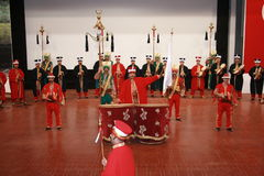 Mehter Band. Ottoman military Mehter Band during concert at Harbiye Military Museum in Istanbul ,Turkey Royalty Free Stock Image