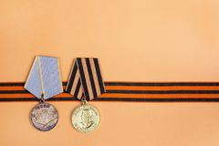 9 Mei-achtergrond St George ` s lint en medailles van Grote patriot royalty-vrije stock foto