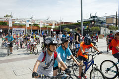 28 MEI, 2017, ALCOBENDAS, SPANJE: traditionele fietsparade royalty-vrije stock fotografie