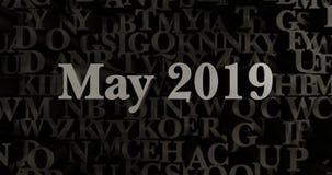 Mei 2019 - 3D teruggegeven metaal gezette krantekopillustratie Royalty-vrije Stock Foto's
